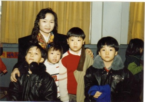 "me on the far left and Daesung on the far right with our ""Michael Knight"" black jackets in Sunday school"
